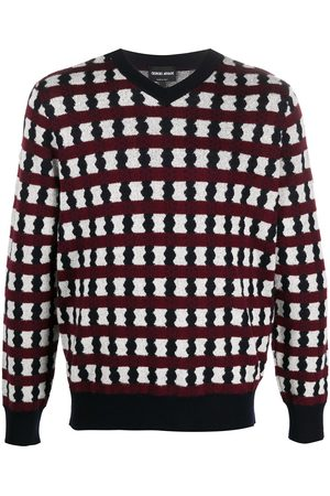 Armani Artistic stripe v-neck jumper