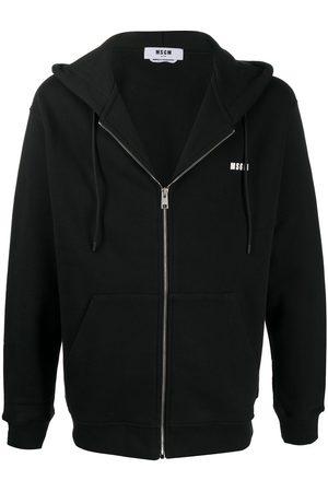 Msgm Logo print zip-up hoodie