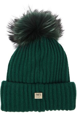THAT'SAHAT Black fur pompom wool-blend beanie