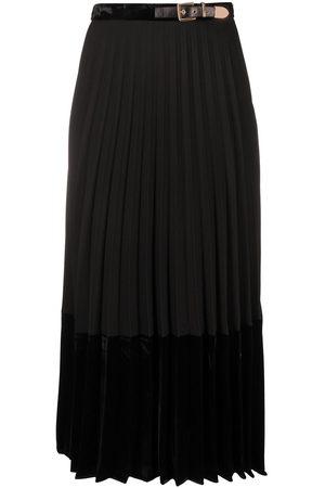Sandro Women Midi Skirts - Velna velvet panelled mid-length skirt