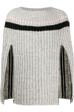 RAF SIMONS Zip-up sleeve knitted jumper - Grey