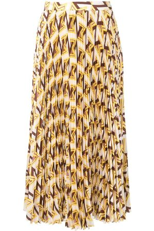 Msgm Geometric pattern pleated midi skirt