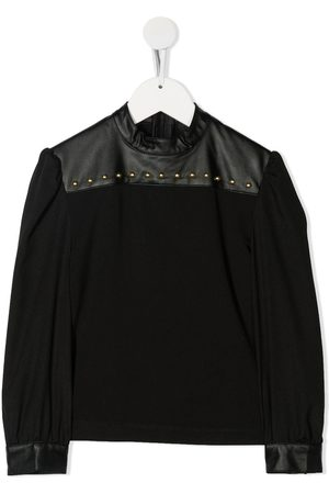 John Richmond Junior Girls Blouses - Azzardo faux-leather details blouse