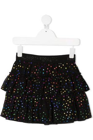 Alberta Ferretti Tiered star-print tulle skirt