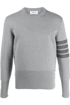 Thom Browne Men Sweatshirts - 4-Bar crew-neck Shetland wool jumper - Grey