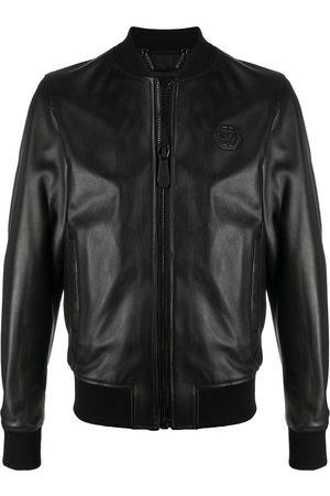 Philipp Plein Men Leather Jackets - Leather bomber jacket