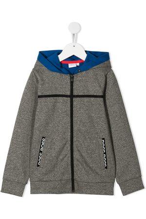 HUGO BOSS Contrast panel zip-up hoodie - Grey