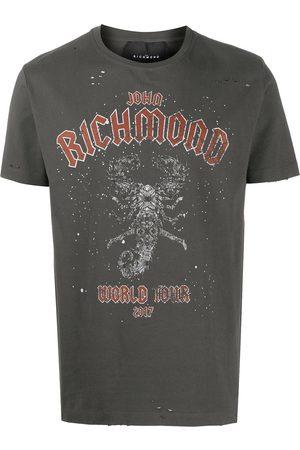 John Richmond Men T-shirts - World Tour print cotton T-shirt - Grey