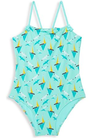 Vilebrequin Little Girl's & Girl's One-Piece Printed Bateaux Swimsuit - Lagoo - Size 14