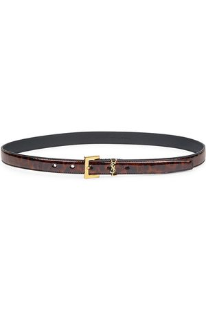 Saint Laurent Women Belts - Women's Logo Leopard-Print Patent Leather Belt - Natural - Size Medium