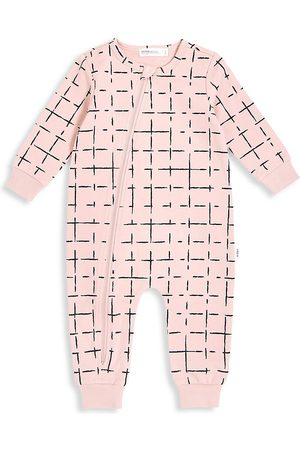 Miles Baby Baby Girl's Grid-Print Long-Sleeve Coverall - - Size 24 Months