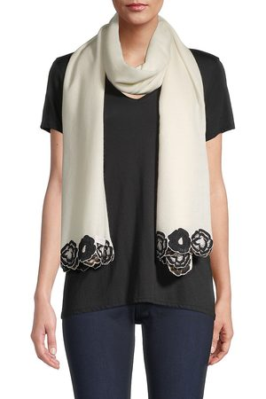 K. Janavi Women's Embroidered Floral Border Cashmere Scarf
