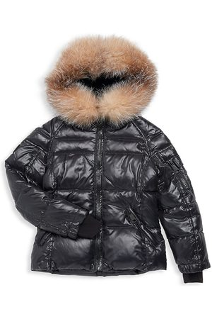SAM. Girl's Blake Metallic Fox Fur-Trim Down Puffer Jacket - - Size 12