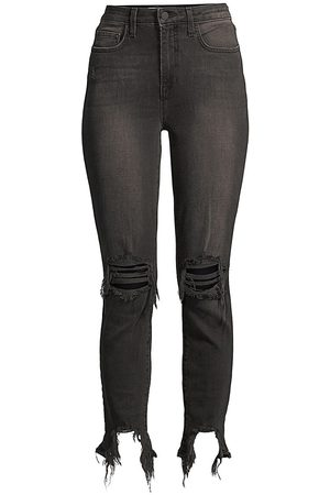 L'Agence Women's High-Rise Distressed Skinny Jeans - - Size 32 (10-12)