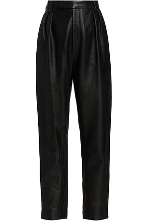 Khaite Women's Magdeline Leather High-Rise Pants - - Size 6