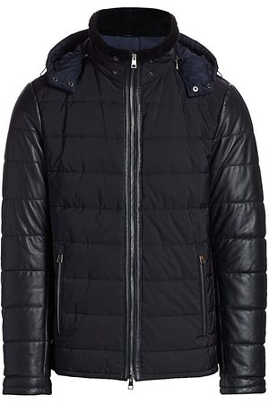 Saks Fifth Avenue Men's COLLECTION Shearling-Collar Leather-Sleeve Puffer Jacket - Navy - Size Small