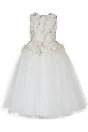 Badgley Mischka Girl's Sequin Mesh Peplum Gown - - Size 8