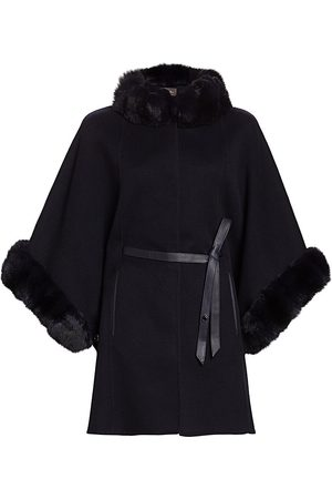 Loro Piana Women's Salzburg Chincilla Fur-Trimmed Belted Cashmere Cape