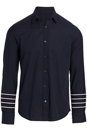 Nominee Men's Long-Sleeve Arm Striped Button-Front Shirt - Navy - Size Large