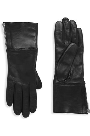 Carolina Amato Women's Touch Tech Leather & Shearling Gloves - - Size Large