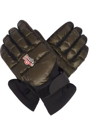 Moncler Embroidered-logo Leather-palm Ski Gloves - Mens - Dark Olive