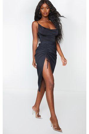 PRETTYLITTLETHING Women Midi Skirts - Woven Ruched Detail Midi Skirt