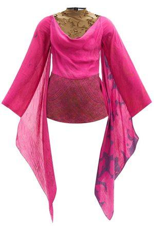 Marine Serre Draped Velvet-devoré And Repurposed-silk Top - Womens - Fuchsia
