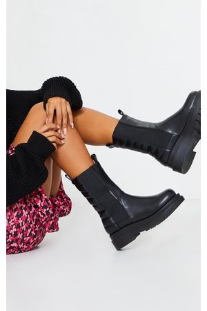 PRETTYLITTLETHING Women Chelsea Boots - Calf High Chunky Quilted Pannel Chelsea Boots