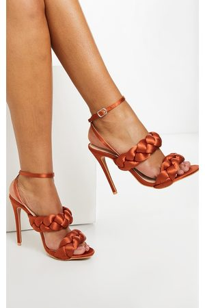 PRETTYLITTLETHING Rust Satin Chunky Plaited High Heels