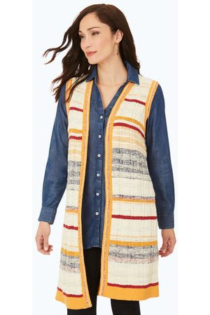 Foxcroft Collection Sleeveless Textured Stripe Vest
