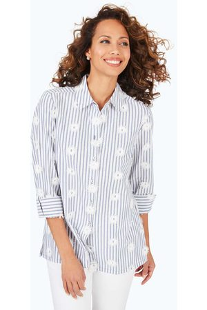 Foxcroft Women Tunics - Libby Petite Embroidered Stripe Tunic