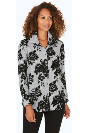Foxcroft Jane Floral Flocked Stripe Tunic