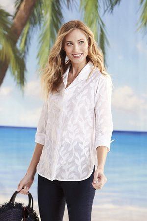 Foxcroft Women Tunics - Pandora Palm Jacquard Tunic