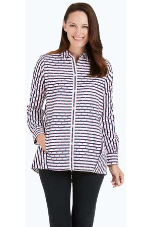 Foxcroft Carlene Embroidered Dot Stripe Tunic