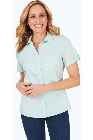 Foxcroft Hampton Pinpoint Non-Iron Short Sleeve Shirt
