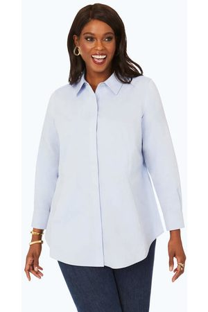Foxcroft Cici Plus Pinpoint Non-Iron Tunic