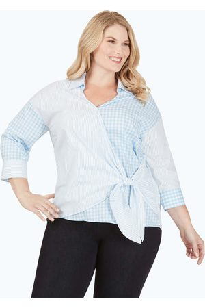 Foxcroft Women Wrap tops - Kaya Plus Non-Iron Pattern Play Wrap Shirt
