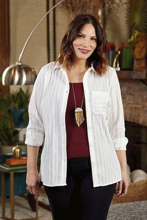 Foxcroft Women Tunics - Robyn Plus Textured Stripe Tunic