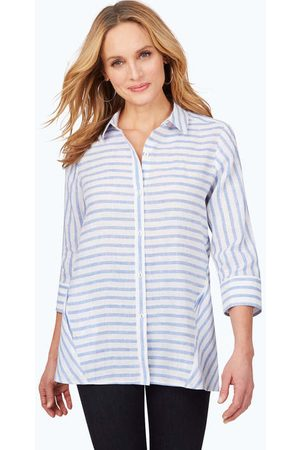Foxcroft Carlene Easy-Care Stripe Linen Tunic