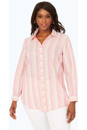 Foxcroft Women Tunics - Havana Plus Easy-Care Pattern Linen Tunic