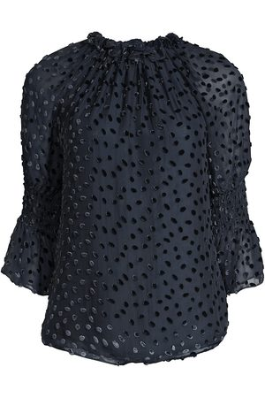 REBECCA TAYLOR Women's Chemise Velvet Dot Blouse - - Size Large