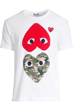 Comme des Garçons Men's Two Heart Camo Cotton Tee - - Size Medium