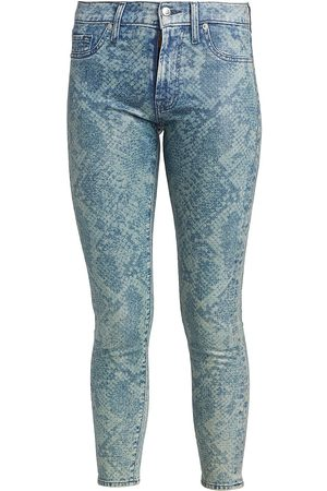 7 for all Mankind Women's Coated Laser Indigo Snake Mid-Rise Ankle Skinny Jeans - - Size 30 (8-10)