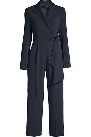 Jay Godfrey Women's Tie-Waist Tuxedo Jumpsuit - Midnight - Size 4
