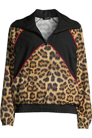 Terez Women's Leopard Goals Half-Zip Windbreaker