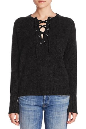 360CASHMERE Women's Dylan Lace Up Sweater - - Size Large