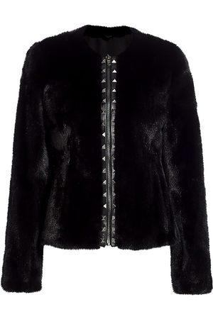 The Fur Salon Women's Norman Ambrose For Studded Zip Mink Fur Jacket - - Size Medium