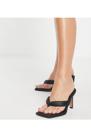 ASOS Wide Fit Haven padded toe thong heeled sandals in