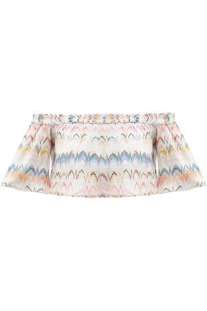 Missoni Women Crop Tops - Off-the-shoulder Zigzag-jacquard Crop Top - Womens - Multi
