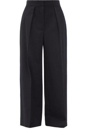 The Row Avril Single-pleat Water-repellent Wool Trousers - Womens - Navy